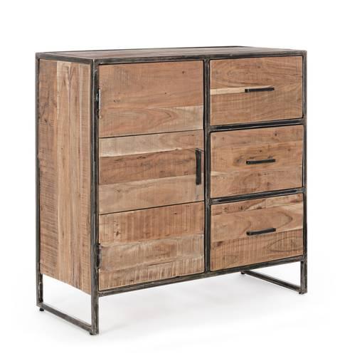 Credenza legno e ferro stile industrial 1 anta e 3 cassetti