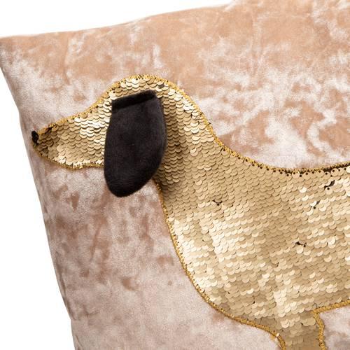 Cuscino bassotto paillettes oro su velluto rosa