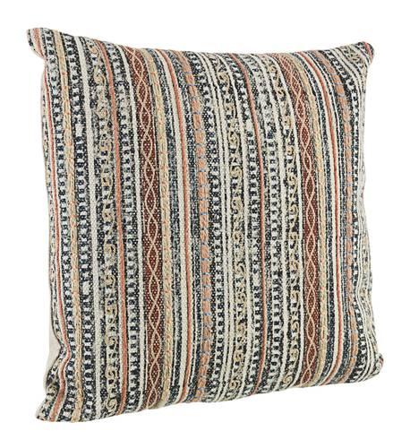 Cuscino cotone Tilak righe marroni grigie 45x45