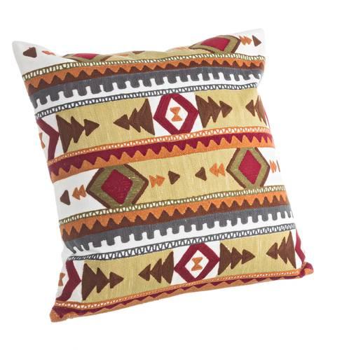 Cuscino etno multicolor piuma