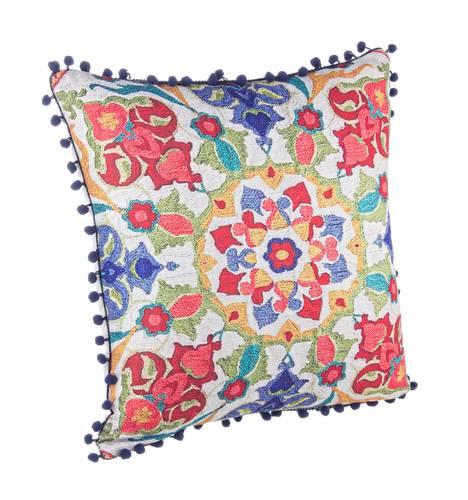 Cuscino fantasia rosso pompon blu 45x45