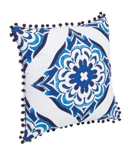 Cuscino fantasia fiore blu pompon 40x40