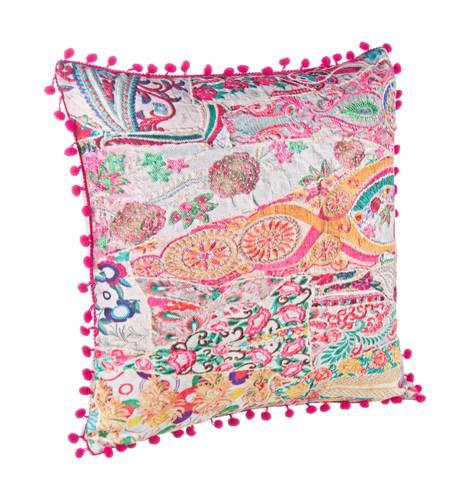 Cuscino fantasia pompon rosa 45x45