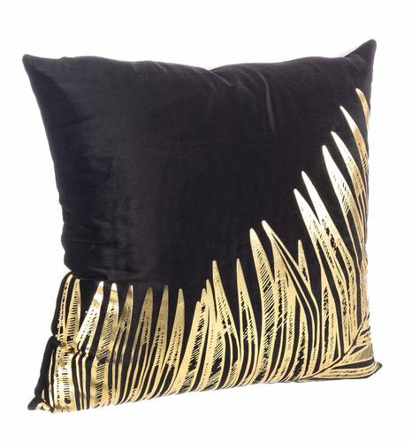 Cuscino giungla nero foglie oro 45x45