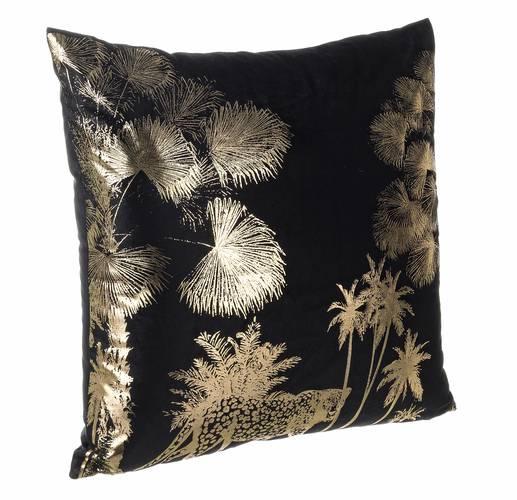 Cuscino giunga nero foresta oro 45x45