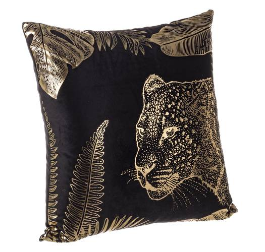 Cuscino giunga nero leopardo oro 45x45