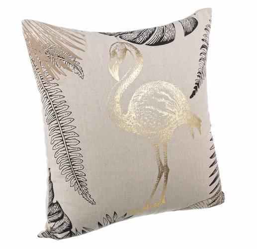 Cuscino giungla ecru flamingo oro 45x45