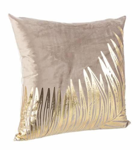 Cuscino giungla ecru foglie oro 45x45