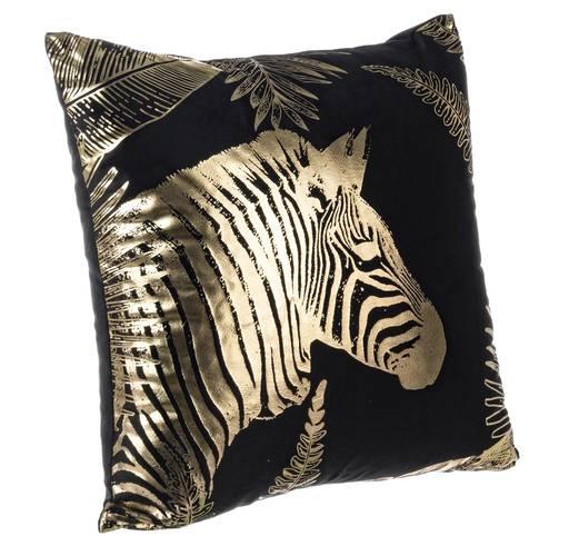 Cuscino giungla nero zebra oro 45x45