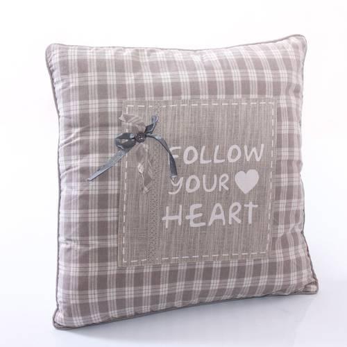 Cuscino grigio quadretti Follow Your Heart 45x45