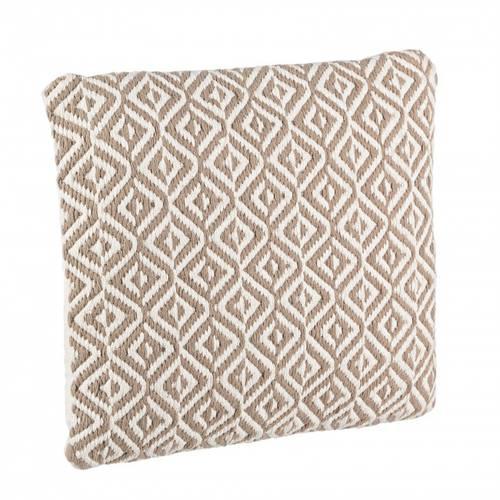 Cuscino intreccio cotone rombi bianco-beige 45x45