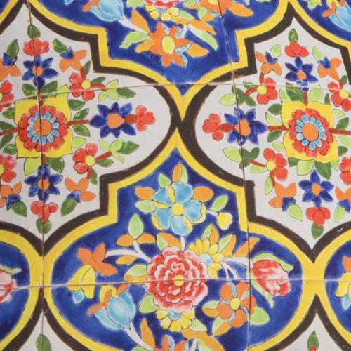 Cuscino maioliche blu con fiori 40x40