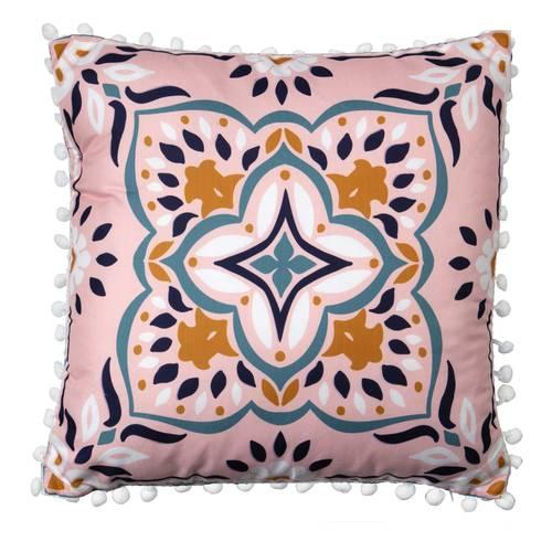 Cuscino maioliche rosa disegno blu 40x40