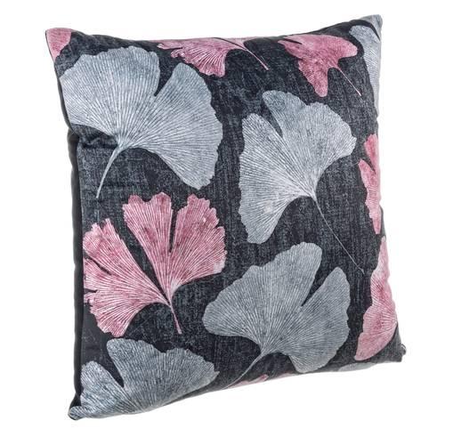 Cuscino nero foglie rosa e grigie 45x45