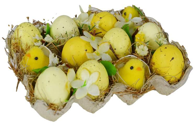 Decorazione pasqua cartone 12 uova con pulcini