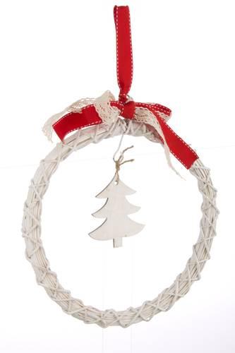 Decorazione vimini bianco corona natalizia 25h