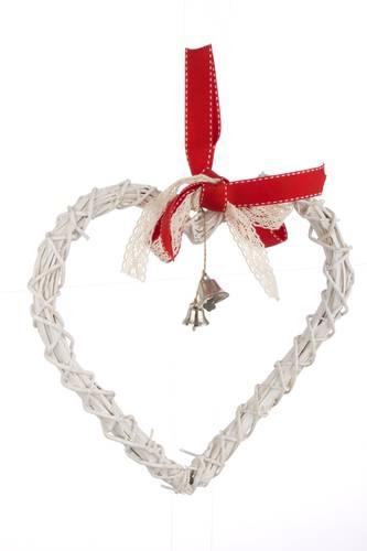 Decorazione vimini bianco cuore natalizio 25h