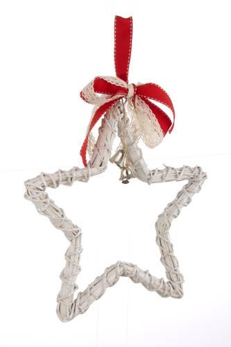 Decorazione vimini bianco stella natalizia 25h