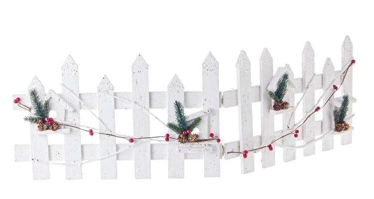 Decoro recinzione legno bianco natalizio glitter