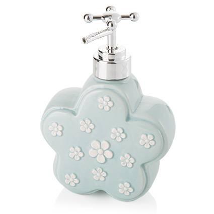 Dispenser sapone liquido fiore azzurro ceramica
