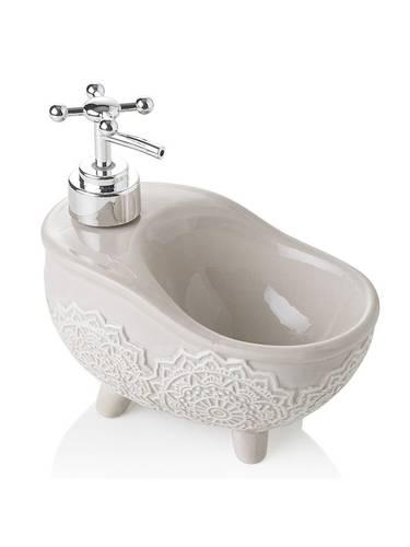 Dispenser sapone forma di vasca ceramica tortora