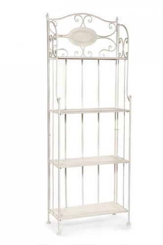 Etagere scaffale ferro bianco 4 piani medaglione
