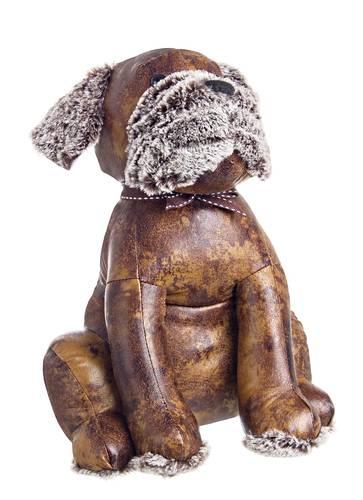 Fermaporta cane ecopelle marrone