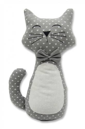 Fermaporta gatto grigio cuori bianchi
