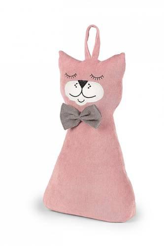 Fermaporta gatto velluto rosa fiocco grigio