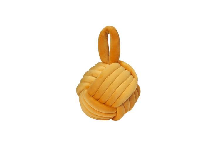 Fermaporta gomitolo giallo ocra velluto con maniglia