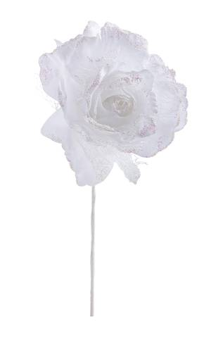 Fiore rosa bianca glitterata 20h