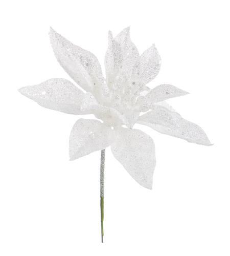 Fiore stella di natale bianca ghiacciata 18h