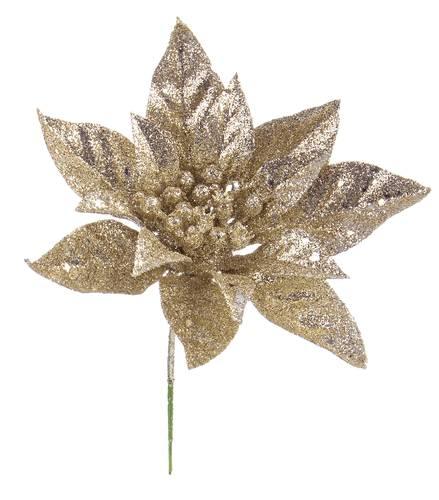 Fiore stella di natale oro brillantata 20h