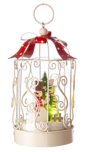 Gabbietta natalizia bianca pupazzo di neve con luce led