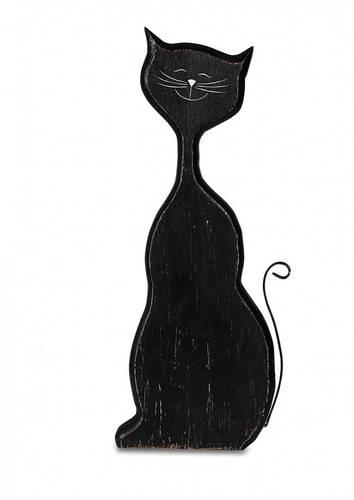 Gatto nero seduto legno 48h