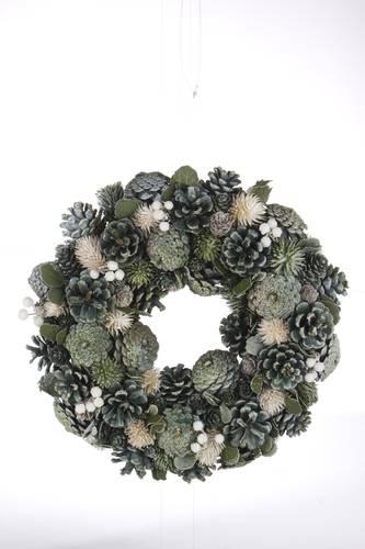 Ghirlanda natale pigne naturali verde e argento 34cm