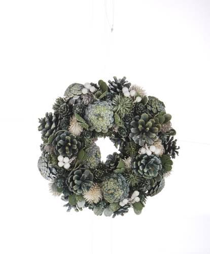 Ghirlanda natale verde e argento 26cm