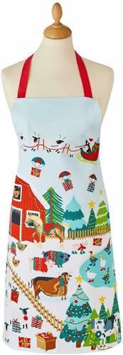 Grembiule cucina cotone fattoria natalizia con slitta