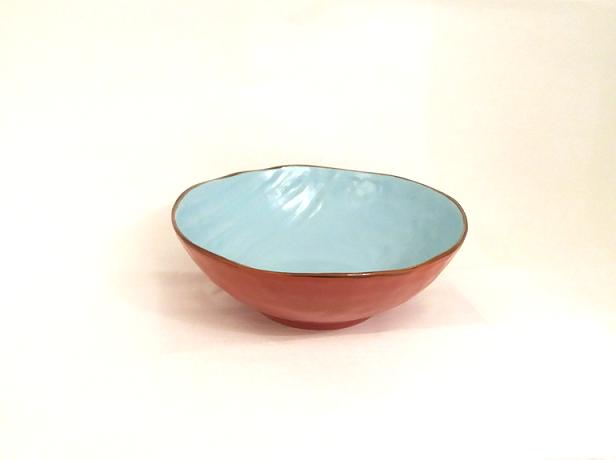 Insalatiera arancio porcellana collezione mediterraneo