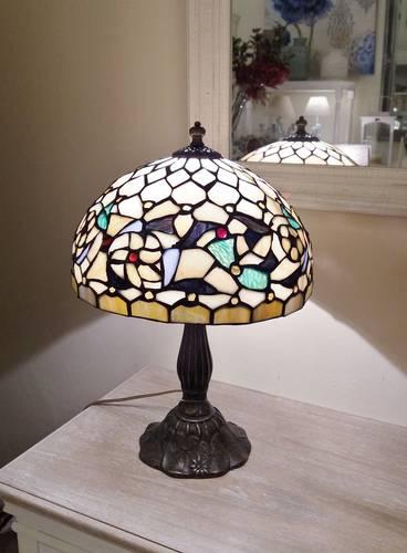 Lampada tiffany crema con fiori h48