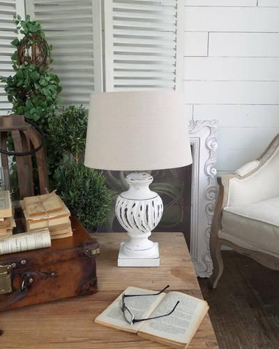 Lampada anfora legno bianco antique h48