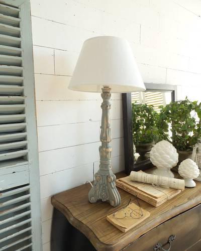Lampada capitello legno grigio antique h77
