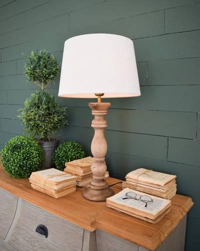 Lampada capitello tornito legno naturale da tavolo 67h
