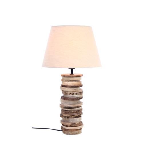 Lampada dischi legno naturale da tavolo 55h
