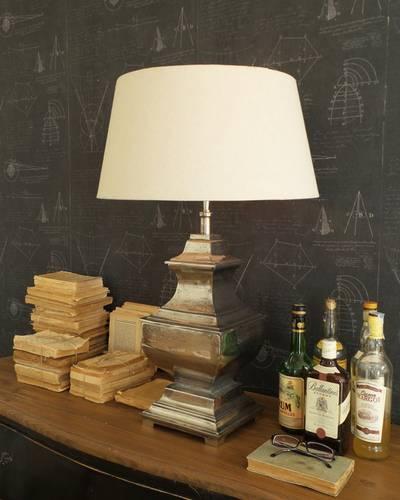 Lampada tavolo quadrata metallo argento anticato 80h