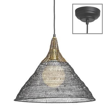 Lampadario conico rete metallo filo nero