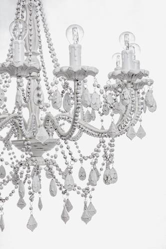 Lampadario ferro e legno bianco shabby chic12 luci cascata di gocce