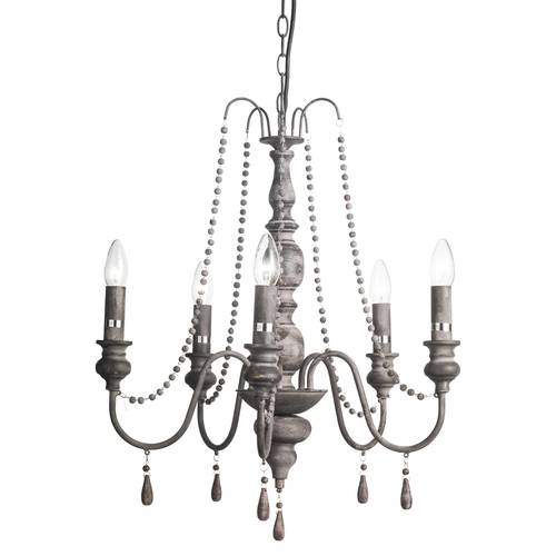 Lampadario ferro grigio 5 luci con perle in legne