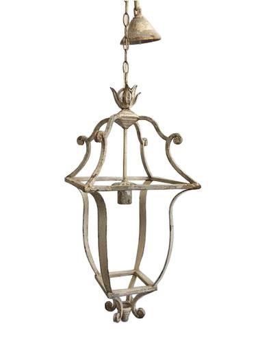 Lampadario lampione ferro bianco anticato 67h