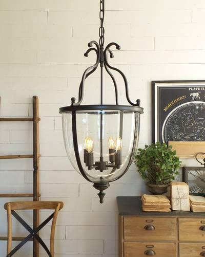 Lampadario lampione vetro e ferro nero 4 luci